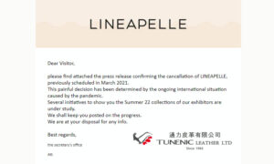Lineapelle 2021 March – Milan Rho Fiera (Italy leather fair) CANCEL